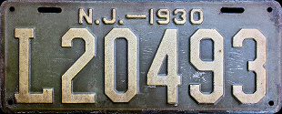 New Jersey License Plate 1930