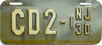 New Jersey Motorcycle Dealer License Plate 1930