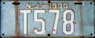 New Jersey Trailer License Plate 1930