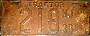 New Jersey Tractor License Plate 1930