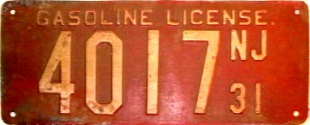 New Jersey Gasoline License Plate
