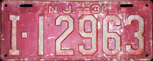 New Jersey License Plate 1931