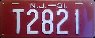 New Jersey Trailer License Plate 1931