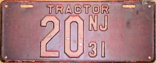New Jersey Tractor License Plate 1931