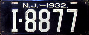 New Jersey License Plate 1932