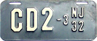 New Jersey Motorcycle Dealer License Plate 1932