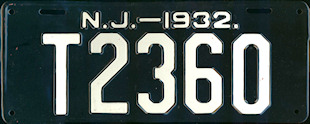 New Jersey Trailer License Plate 1932