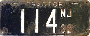 New Jersey Tractor License Plate 1932