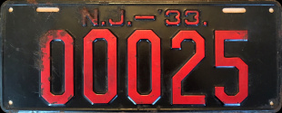 New Jersey License Plate Good Roads #25