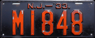 New Jersey License Plate 1933