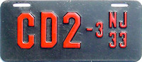 New Jersey Motorcycle Dealer License Plate 1933