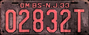 New Jersey Omnibus OM'BS Taxi License Plate