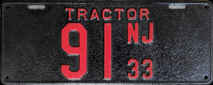 New Jersey Tractor License Plate 1933