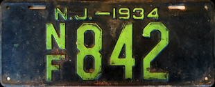 New Jersey No Fee Exempt License Plate 1935