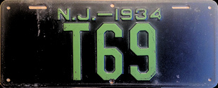 New Jersey Trailer License Plate 1934