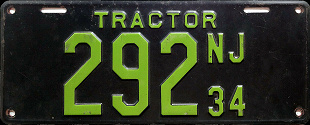 New Jersey Tractor License Plate 1934