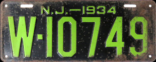 New Jersey License Plate 1934