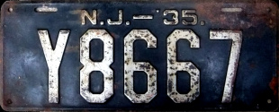 New Jersey License Plate 1935