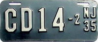 New Jersey Motorcycle Dealer License Plate 1935