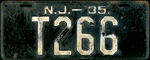 New Jersey Trailer License Plate 1935