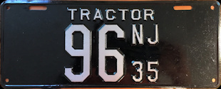 New Jersey Tractor License Plate 1935