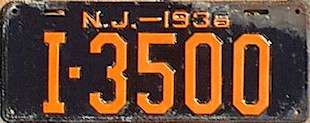 New Jersey License Plate 1936