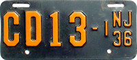 New Jersey Motorcycle Dealer License Plate 1936