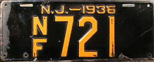 New Jersey No Fee Exempt License Plate 1936