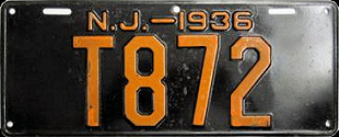 New Jersey Trailer License Plate 1936