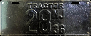 New Jersey Tractor License Plate 1936