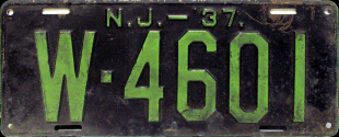 New Jersey License Plate 1937