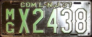 New Jersey Municipal Government Commercial License Plate