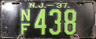 New Jersey No Fee Exempt License Plate 1937
