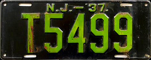New Jersey Trailer License Plate 1937