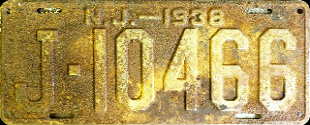 New Jersey License Plate 1938