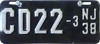 New Jersey Motorcycle Dealer License Plate 1938