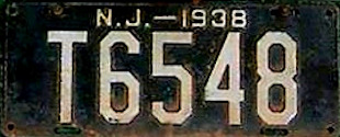 New Jersey Trailer License Plate 1938