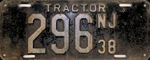 New Jersey Tractor License Plate 1938