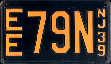 New Jersey License Plate 1939