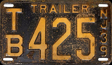 New Jersey Trailer License Plate 1939
