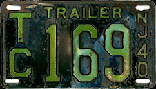New Jersey Trailer License Plate 1940