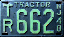 New Jersey Tractor License Plate 1940