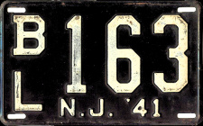 New Jersey License Plate 1941