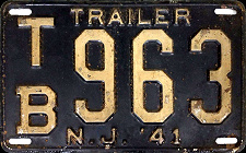 New Jersey Trailer License Plate 1941
