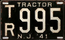 New Jersey Tractor License Plate 1941