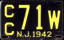 New Jersey License Plate 1942