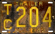 New Jersey Trailer License Plate 1942