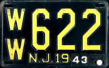 New Jersey License Plate 1943