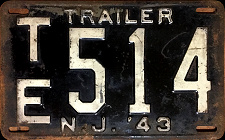 New Jersey Trailer License Plate 1943