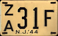 New Jersey License Plate 1944